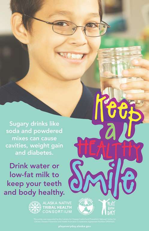 Health Smile poster about drinking water, not sugary drinks
