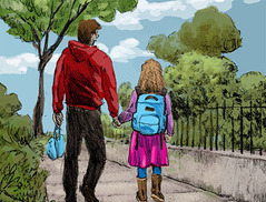 dad walking girl to school
