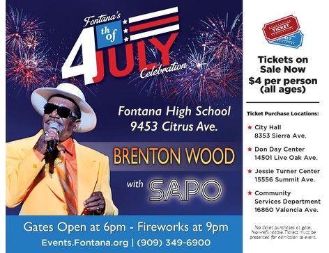 Brenton Wood to Perform in Fontana