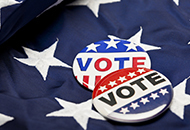 American flag and vote button image.
