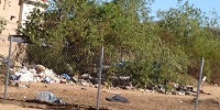 Homeless encampment before clean up