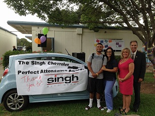 Congratulations to Adrian Rivera, Alvord High School Senior, for taking home a new Chevrolet on behalf of Singh Chevrolet's Perfect Attendance Award
