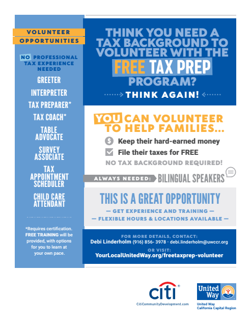 VITA Volunteer flyer
