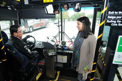 Bus operator and passenger