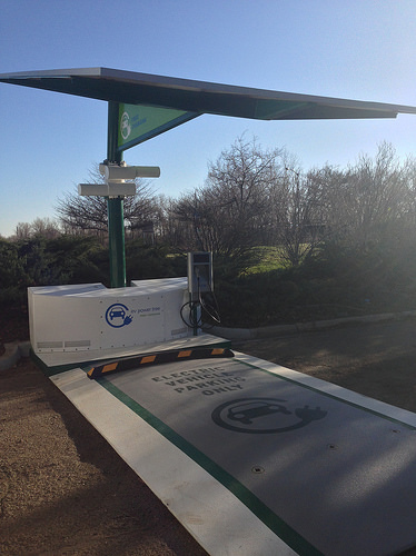 A photo of an electric vehicle charging station