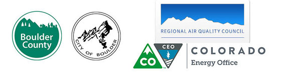 Logos for Boulder County, City of Boulder, RAQC, and Colorado Energy Office