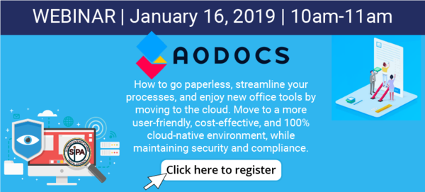 Webinar featuring AODocs Jan 16, 2019. Register Today!