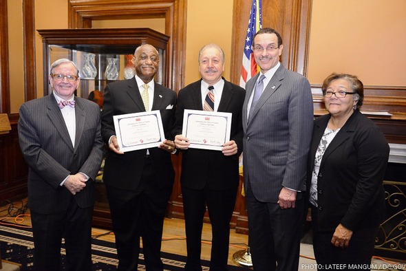 From left to right: D.C. Councilmember Jim Graham, James N. Short, Jr., Victor H. Rodriguez, Mayor Vincent C. Gray, and Councilmember Anita Bonds.