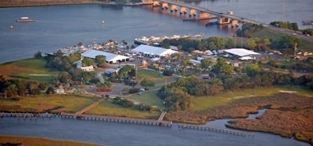 Aerial view of Jim King Park and Boat Ramp at Sisters Creek Marina