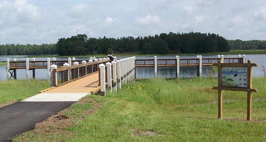 Colt Creek State Park new fishing/observation dock and interpretive sign.