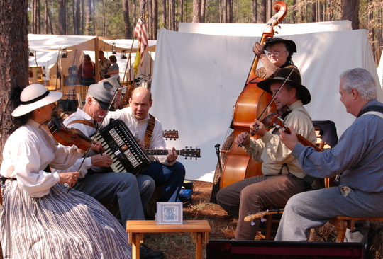 Re-enactors play traditional music at Olustee Battlefield Historic State Park.