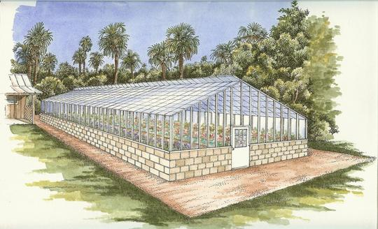 Future look of the historic greenhouse at Washington Oaks Gardens State Park.