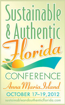 Sustainable and Authentic Florida Conference Poster, bright, sunny with vibrant yellow and organge color combinations
