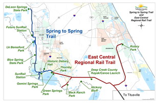 Spring to Spring Trail and East Coast Greenway map