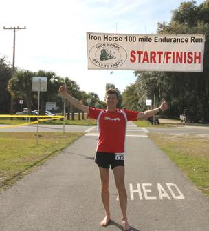 Marcin Mrowka finishing his 50 mile race