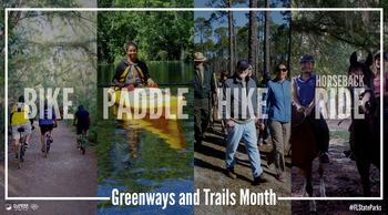 images showing hiker, biker, paddler and equestrian