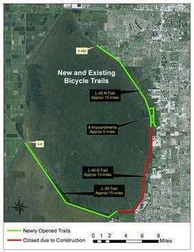 biking trails map for Arthur Marshall National Wildlife Refuge