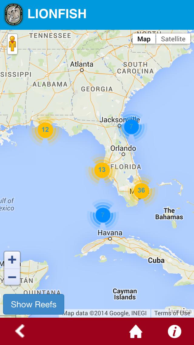 Lionfish map app