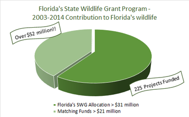 Pie chart showing breakdown of SWG funds vs. matching funds to Florida