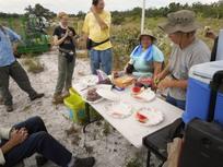 Ridge Rangers enjoy watermelon after a planting