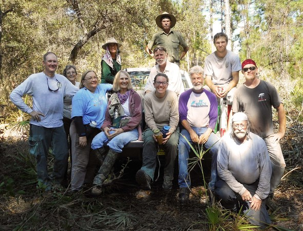 Ridge Rangers and others after sand pines reduction workday
