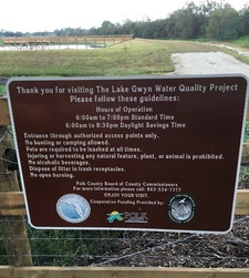 Signage at the Lake Gwyn site, providing guidelines to visitors