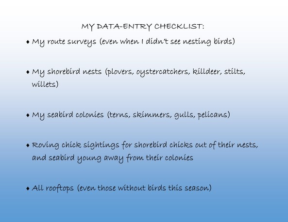 Data Entry Check List