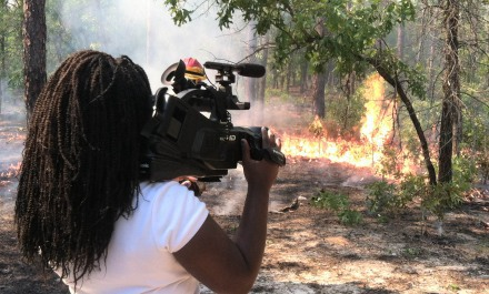 Sci Fries filming prescribed fire at Ohoopee Dunes
