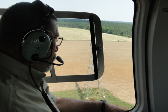 Ashley Harrington during aerial survey for kestrels.