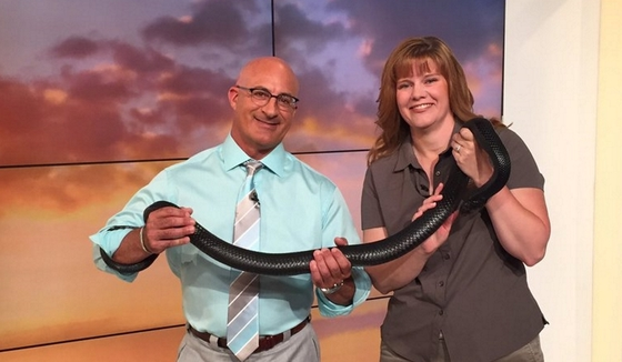 Linda May with Jim Cantore, The Weather Channel