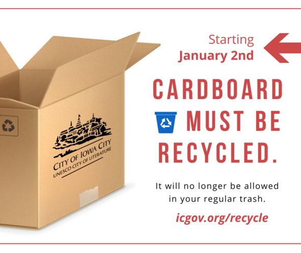 A graphic promoting a new cardboard rule coming to the Iowa City Landfill.