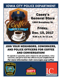 A flyer promoting the December Coffee with a Cop event.