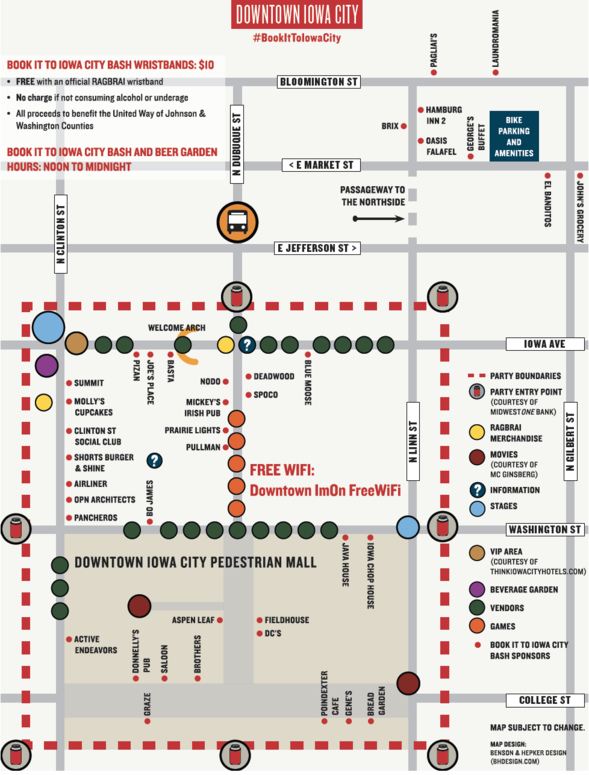 Downtown map for the Book it to Iowa City Bash