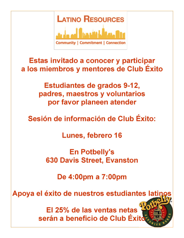 Club Exito meeting flyer