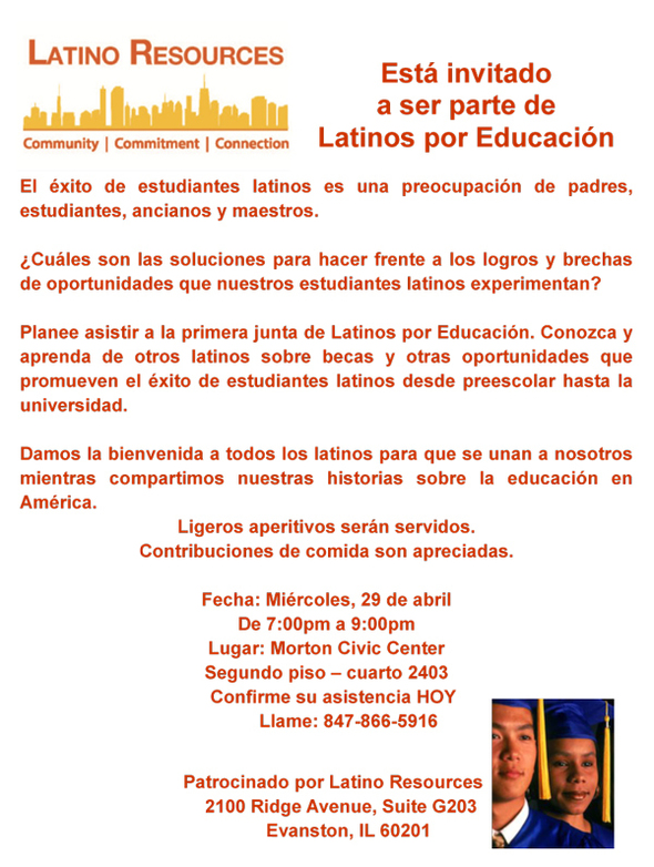 Latino Resources Spanish Education flyer