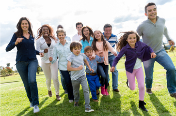 Healthy family running park