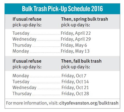 Bulk Trash Pick-up 2016 schedule