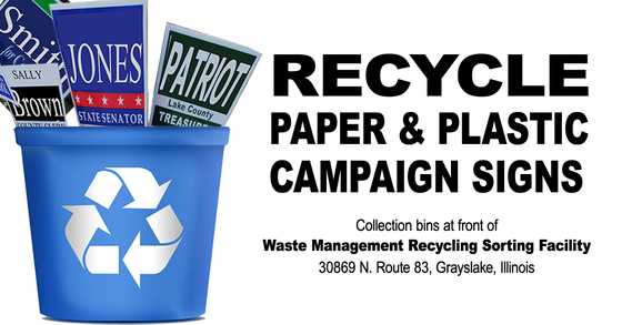Recycle campaign signs