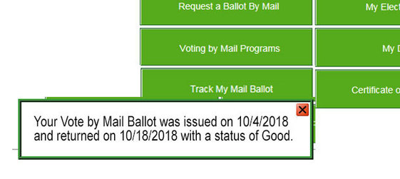 Track my ballot confirmation screen