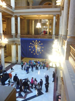 Children gather in State House for Statehood Day