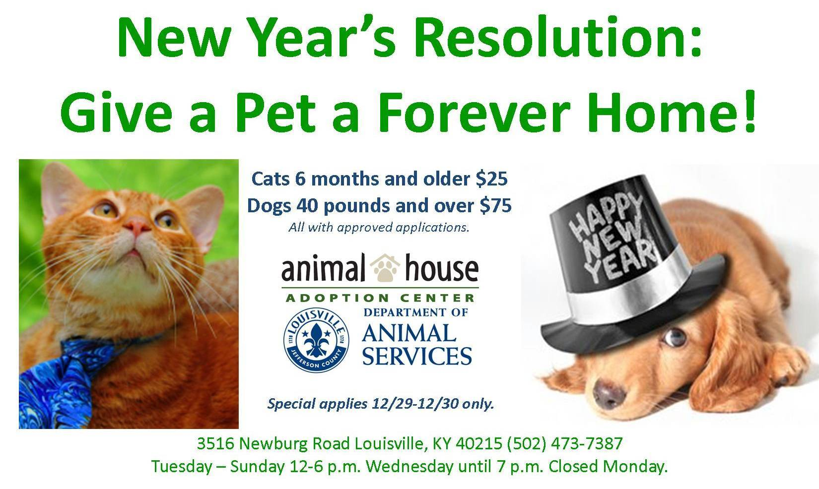 Resolution: Provide a Loving Home and Take Advantage of SPECIALS!