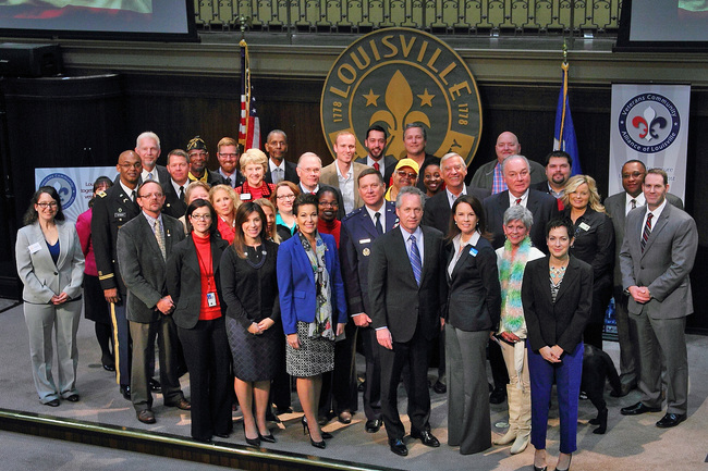 Mayor with Week of Valor partners