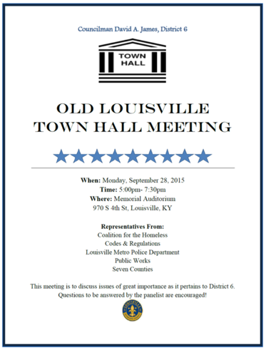 The Old Louisville Town Hall Meeting is coming on Monday, September ...