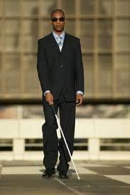 Blind man with white cane