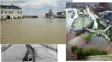 collage of flood images