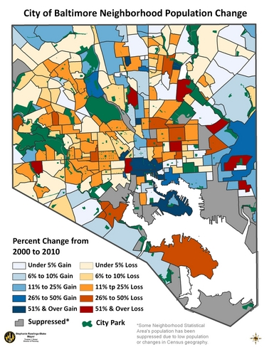 Map showing neighborhood level population changes.