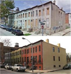 Before and After Photo of Oliver Rowhome renovations