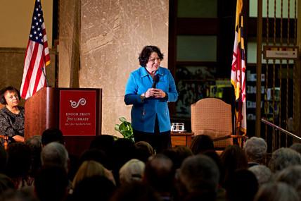 IMAGE: US Supreme Court Justice Sotomayor speaks at Enoch Pratt Free Library
