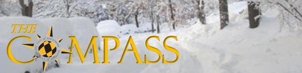 Compass Logo with Snowy Street in Background