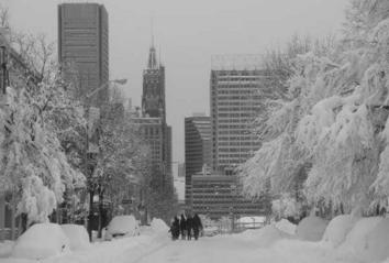 Downtown Baltimore covered in Snow